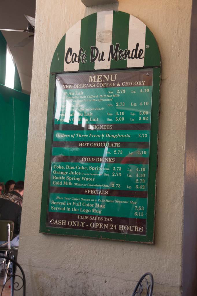 Menu board at Cafe du Monde