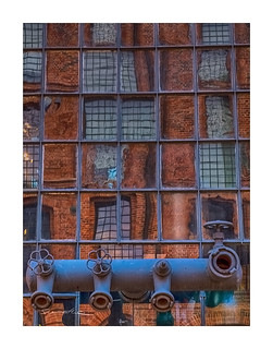Textile factory seen in a boiler's house window