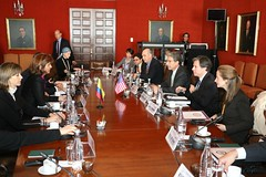 Deputy Secretary of State Tony Blinken, joined by U.S. Ambassador to Colombia Kevin Whitaker, participates in series of high-level dialogues with Colombian Foreign Minister Maria Holguin in Bogota, Colombia on April 27, 2015. {State Department photo/Public Domain]