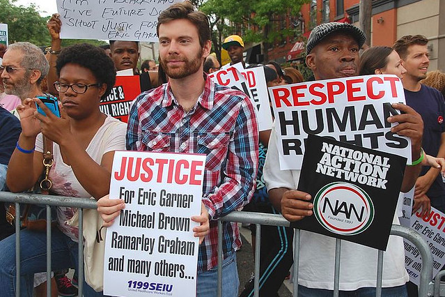 Protesters at the 'We Will Not Go Back' March in New York City, August 2014. Courtesy WikiCommons/Thomas Altfather Good, 2014