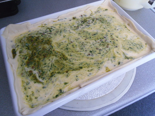 Spinach Masal Quiche - before oven