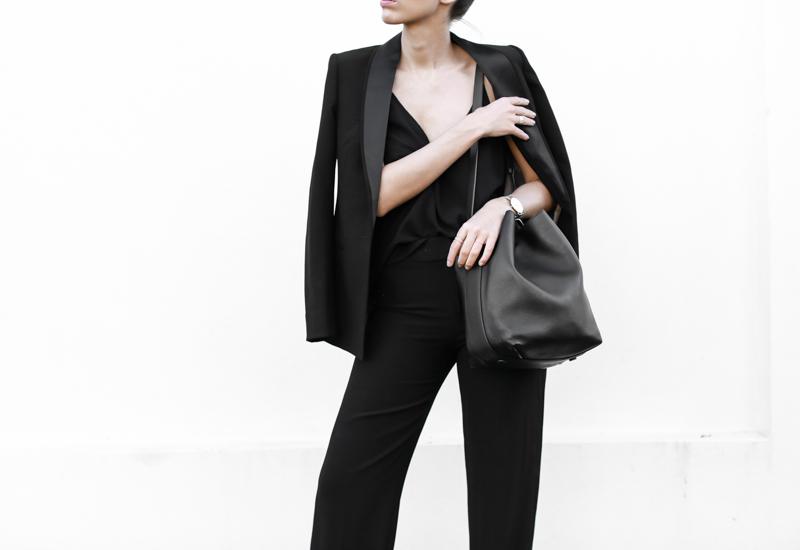 modern legacy, fashion blog, bucket bag, street style, wide leg suit, karen millen, all black (1 of 1)