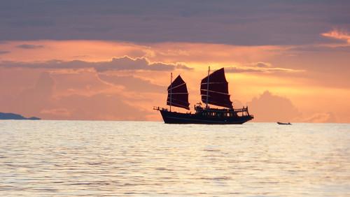 今日のサムイ島 5月18日 夕景‐ジャンク船