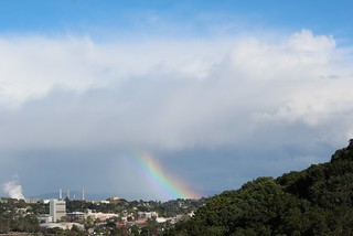 April 7-2015 Clearing storm and rainbow, looking southeast from Carquinez Strait Regional Shoreline Park in Martinez, CA, USA. 690