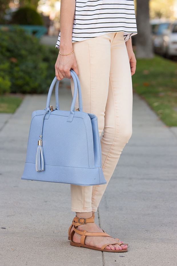 Light Peach Jeans, Light Blue Bag