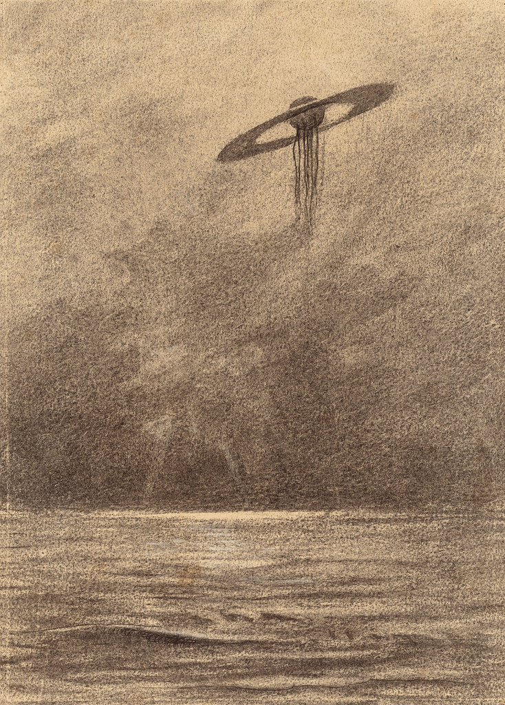 "HENRIQUE ALVIM CORRÊA - Martian Flying Machine, from The War of the Worlds, Belgium edition, 1906 (illustration from Book I- The Coming of the Martians, Chapter XVII- ""The Thunder Child,"")"