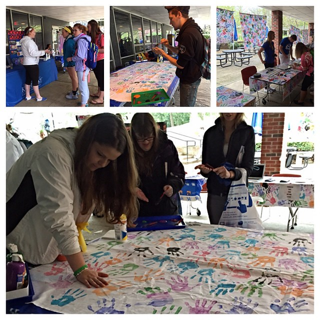 Several of our Wildcats came together for UK Kick Butts Day on April 16 to raise awareness of UK's tobacco-free policies. Hand prints on white sheets outside the Student Center represented the number of people who die every year in KY from tobacco-related