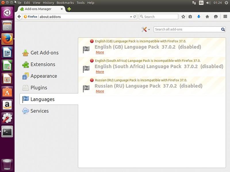 Ошибки Firefox в Ubuntu 15.04