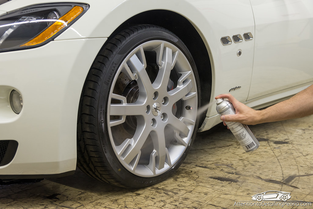 Sonax Wheel Rim Shield being sprayed onto Maserati GranTurismo wheel