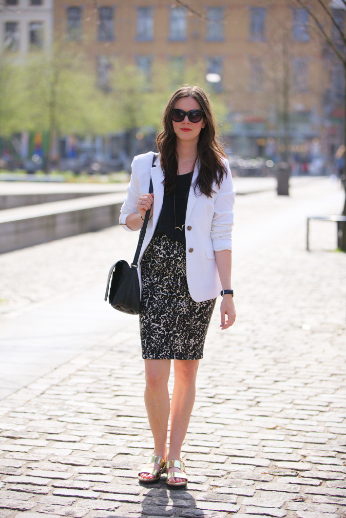outfit: professional in white blazer, printed pencil skirt and silver Wonders sandals