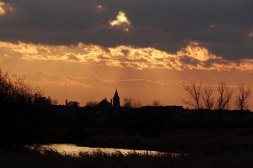 sunset church nature clouds landscape spring silhouettes poland polska warta