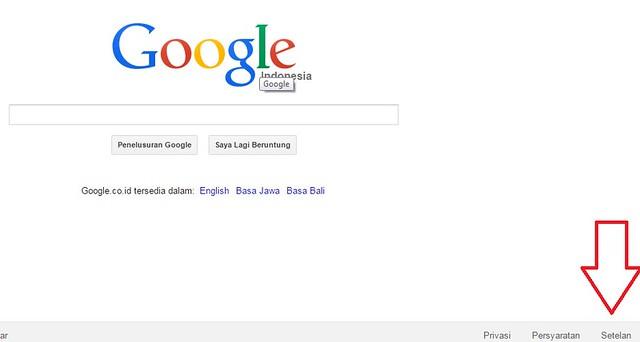 setelan pencarian google