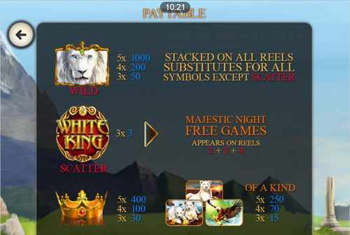 free White King Mobile slot payout