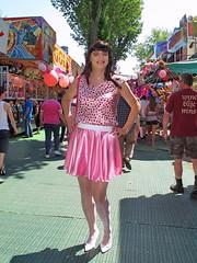 Pink satin miniskirt