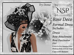 NSP Rose Deco Formal Dress with Hat - Black & White Floral
