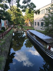 Evening clouds reflected in C&O Canal, 31st St. NW, Georgetown, Washington, D.C.