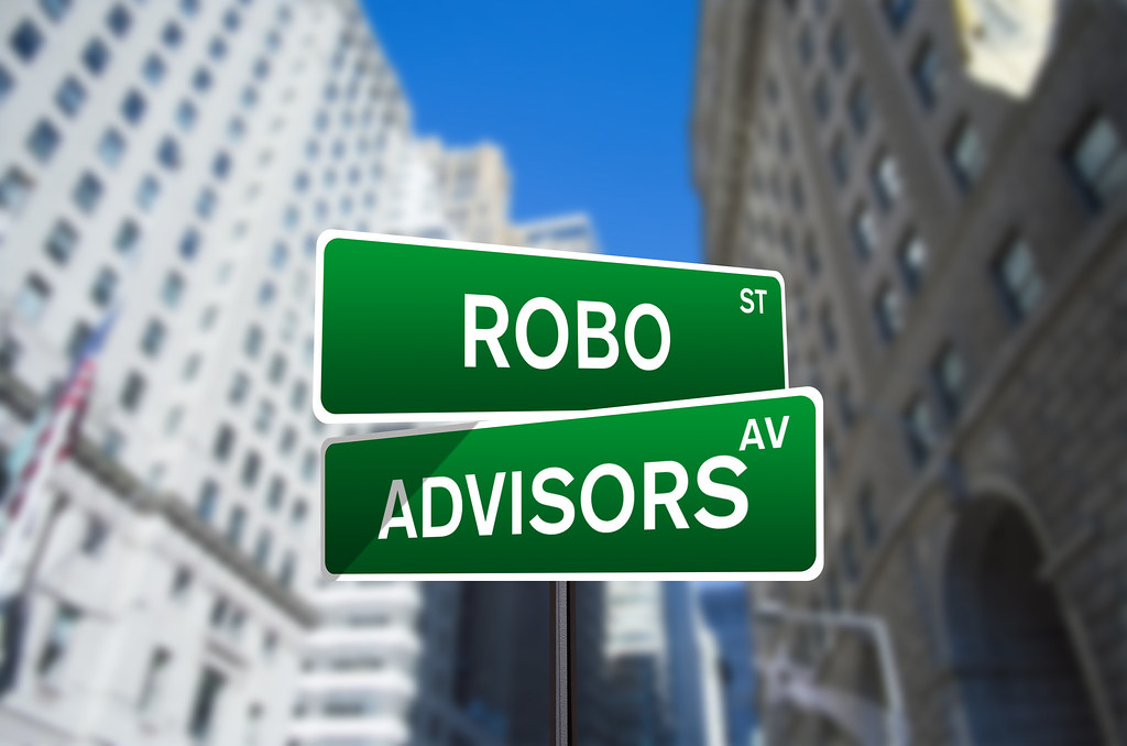 Robo Advisors Street Sign On Wall Street
