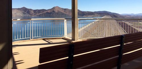 diamondvalleylake hemet california lake trail iphonephotography iphoneography 2016 bench water reservoir fence