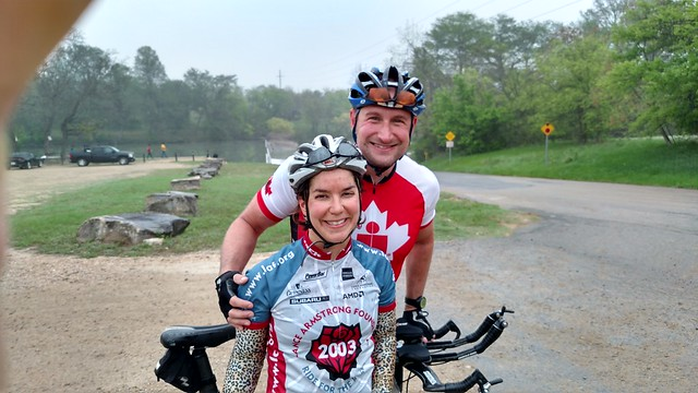 "Easter Hill Country Tour, Day 3: 40ish drizzly, dirty, hilly miles (I was behind Matt in the beginning, hence why my face is covered in mud). Too many highways in this year""s routes. And back through Riverhills, the other way this time, where that grate w"
