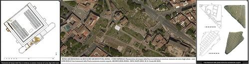 ROMA ARCHEO. & REST. ARCHITETTURA. I FORI IMPERIALI: Planimetria del t. della Pace: in evidenza, le strutture rinvenute nel corso degli ultimi scavi [1998-2015] & I due frammenti della Pianta marmorea recente scoperti, ARCHEO (2015); BING MAPS (2015).