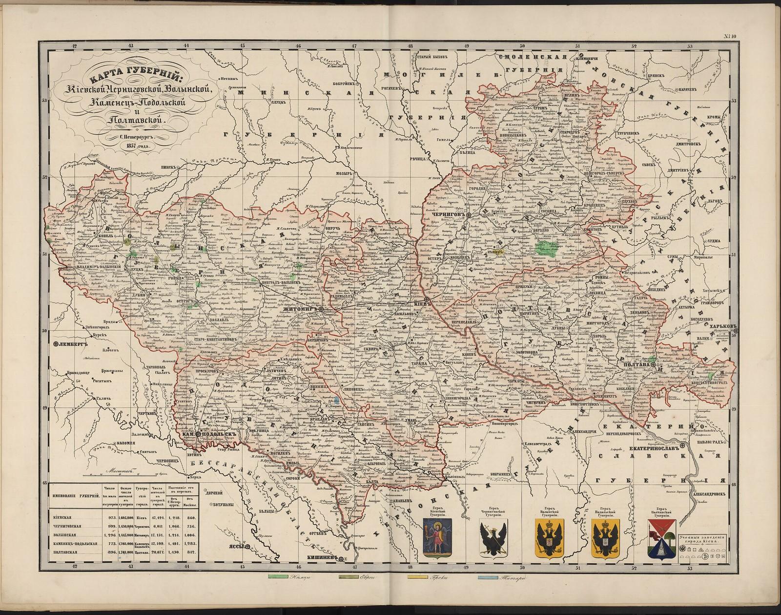 10-а. Карта губерний Киевской, Черниговской, Волынской, Каменец-Подольской и Полтавской (этнографическая).