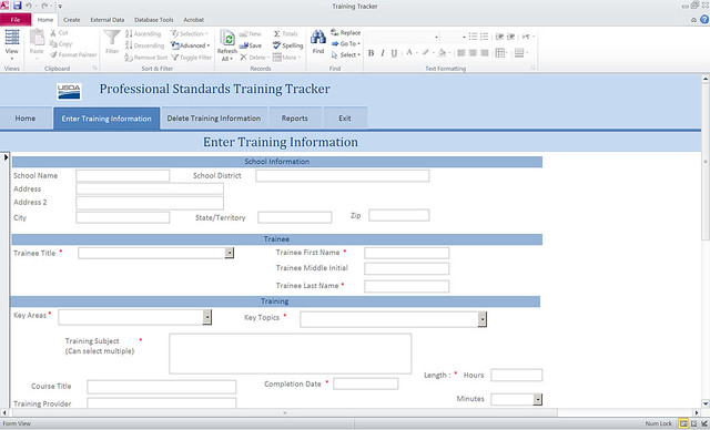 Professional Standards Tracking Tool screenshot