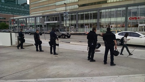 #blacklivesmatter #FreddieGray #Baltimore More security around the Inner Harbor.