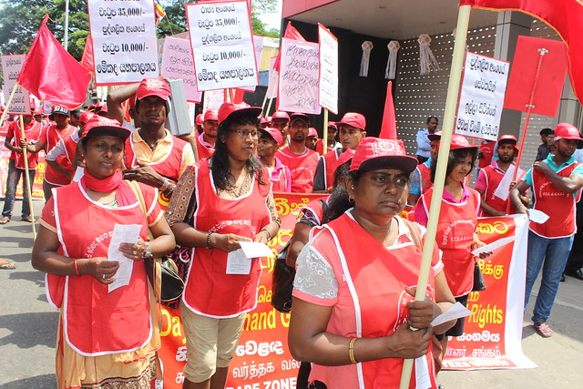 FTZ & GSEU unionists march for May Day 2015 in Sri Lanka