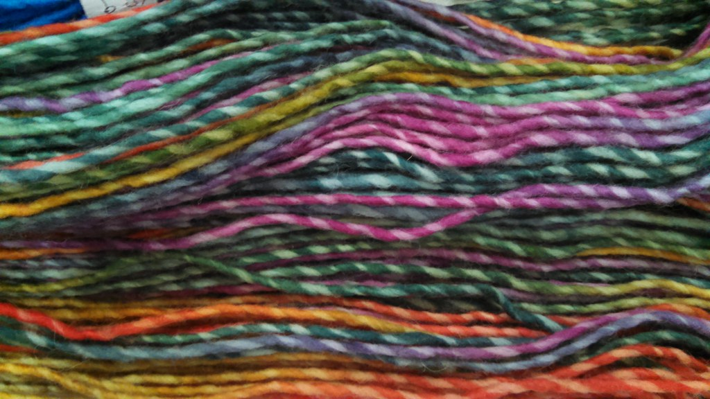 Rainbow colored marled yarn