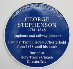 Photo of George Stephenson blue plaque