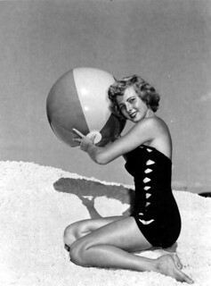 Harriet Smart posing with beach ball - Florida