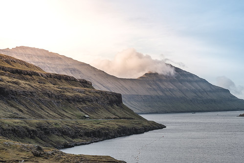 fujixpro2 landscape sunset travel faroeislands hiking green road clouds nature mountain eysturoy fo