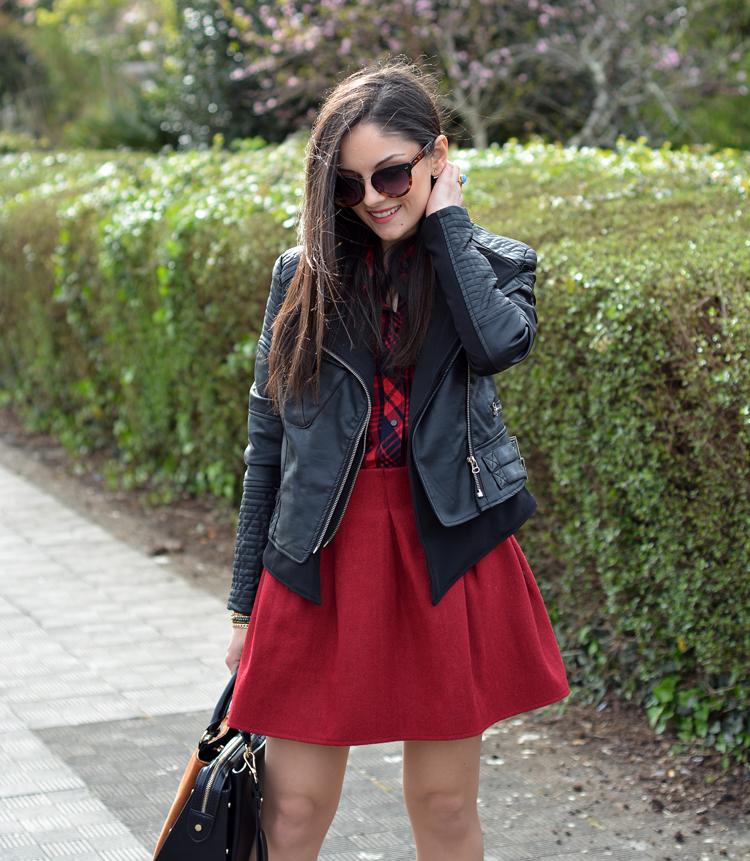 zara_ootd_outfit_falda roja_botines_sheinside_plaid_07