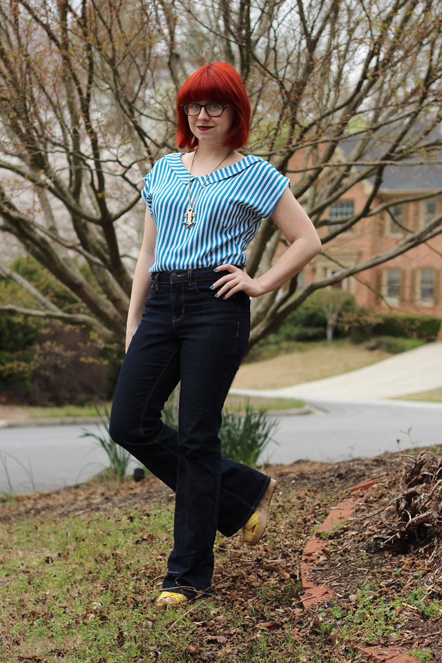 High Waisted Flare Jeans, Yellow Wedges, and a Blue Striped Shirt