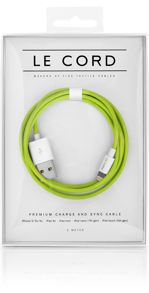 LeCord_SolidLime_iPhone_Textile_Cable