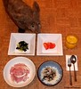 Seara (sea rabbit). Photo by Dr. Takeshi Yamada. 20120221 084 Ham. Steamed Rice with Nori. Pickled Bok Choy. Sliced Tomato. Orange Juice