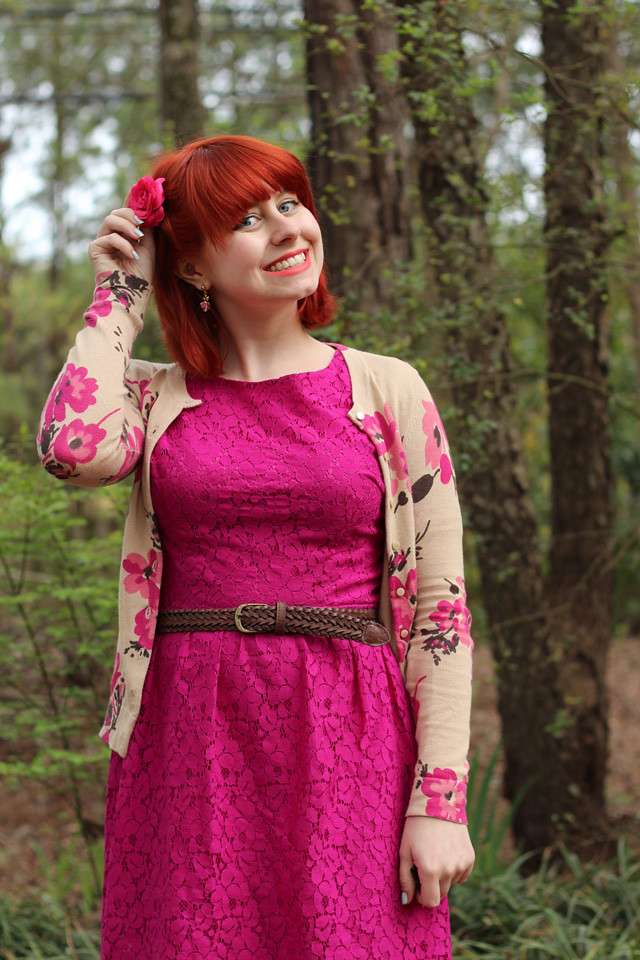 Pink Flower Hair Clip, Floral Cardigan, and Pink Lace Dress