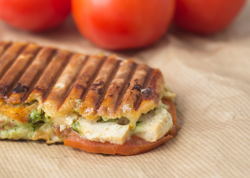 Recipe for Panini with Chicken, Pesto and Mozzarella