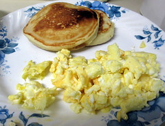 Scrambled Eggs And Pancakes.