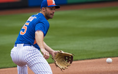 David Wright fields a forehand