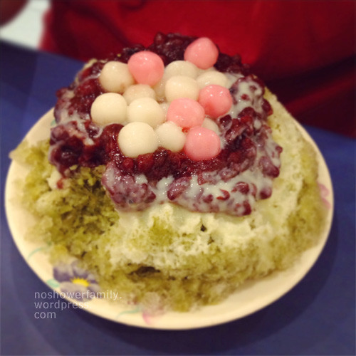 Matcha shaved ice, red beans, condensed milk, tangyuan