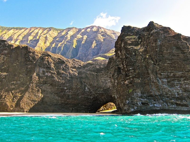 Na pali Honopu beach from a boat