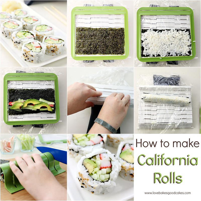 California Rolls being made from start to finish collage.