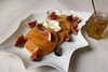 Pancakes with ricotta, figs, with a drizzle of white truffle honey