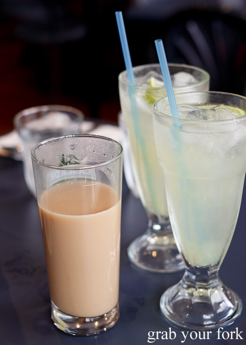 Teh terik and lime soda drinks at Peranakan Place, Auburn