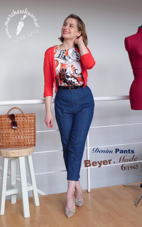 Denim pants - Beyer Mode 3/1963, handmade, diy, szycie, krawiectwo, blog, retro, vintage, 60s, jeans, dżinsy, denim, Beyer Mode, wykrój, model, upcykling, przeróbki
