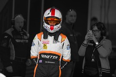 Team LNT driver Mike Simpson shot at the Dunlop 24 hour race ,Silverstone 2015.