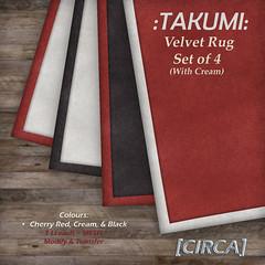 @ CMP ~ [CIRCA] - :TAKUMI: Velvet Area Rug Set of 4 (with Grey)