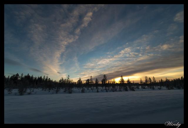 Laponia iglú cristal mina amatistas sauna finlandesa - Amanecer en bosque lapón
