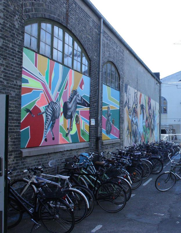 Copenhagen Kobenhavn mural with biks
